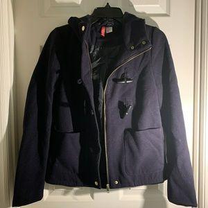 H&M Navy Blue Wool Short Coat